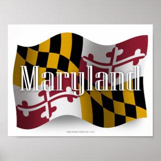 Bandera que agita de Maryland Posters