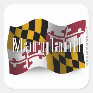 Bandera que agita de Maryland Colcomania Cuadrada