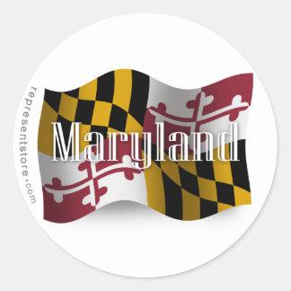 Bandera que agita de Maryland Etiqueta Redonda