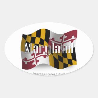 Bandera que agita de Maryland Calcomania De Óval