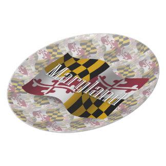 Bandera que agita de Maryland Platos