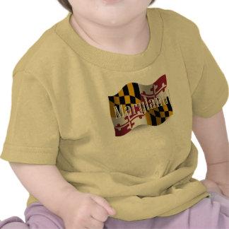 Bandera que agita de Maryland Camisetas
