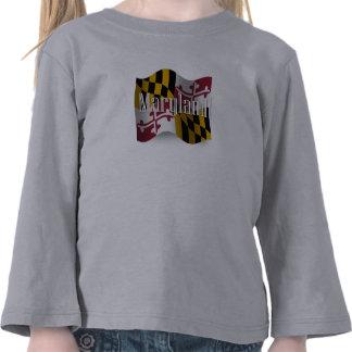 Bandera que agita de Maryland Camiseta