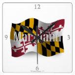 Bandera que agita de Maryland Reloj Cuadrado