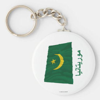 Bandera que agita de Mauritania con nombre en árab Llaveros Personalizados