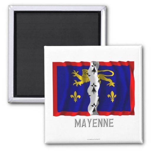 Bandera que agita de Mayenne con nombre Imán Cuadrado