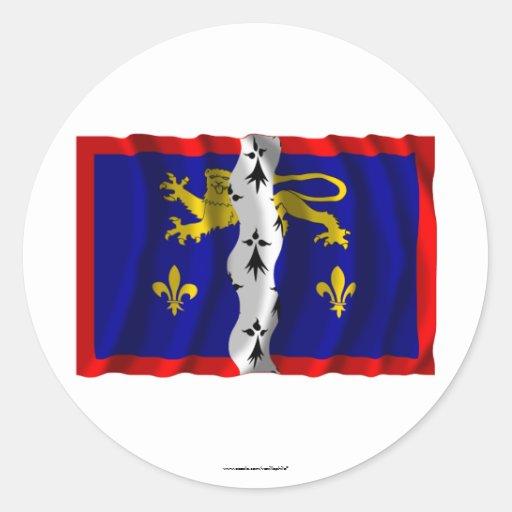 Bandera que agita de Mayenne Etiqueta Redonda