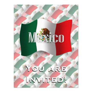 Bandera que agita de México Invitación Personalizada