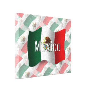 Bandera que agita de México Impresión En Lienzo Estirada
