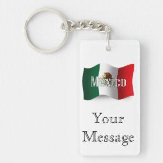 Bandera que agita de México Llavero Rectangular Acrílico A Doble Cara
