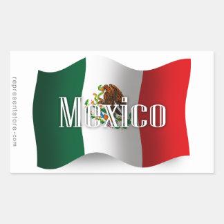 Bandera que agita de México Pegatina Rectangular