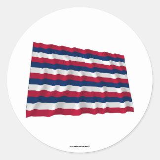 Bandera que agita de Mifflin del fuerte Pegatina Redonda