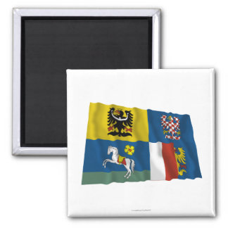 Bandera que agita de Moravia-Silesia Imán Para Frigorifico
