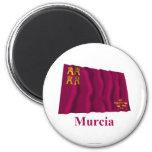 Bandera que agita de Murcia con nombre Imán Redondo 5 Cm
