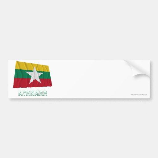 Bandera que agita de Myanmar con nombre Pegatina Para Auto