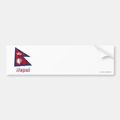 Bandera que agita de Nepal con nombre Etiqueta De Parachoque