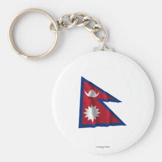 Bandera que agita de Nepal Llavero Redondo Tipo Pin