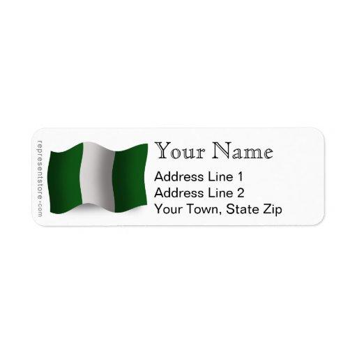 Bandera que agita de Nigeria Etiquetas De Remite