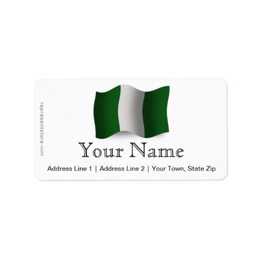 Bandera que agita de Nigeria Etiquetas De Dirección