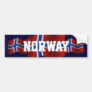 Bandera que agita de Noruega Etiqueta De Parachoque