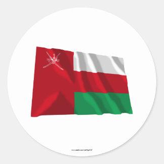 Bandera que agita de Omán Pegatina Redonda