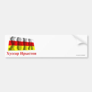 Bandera que agita de Osetia del Sur con nombre en  Pegatina Para Auto