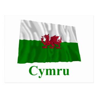 Bandera que agita de País de Gales con nombre en Postales