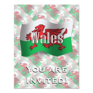 """Bandera que agita de País de Gales Invitación 4.25"""" X 5.5"""""""