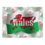 Bandera que agita de País de Gales Tarjetas Postales