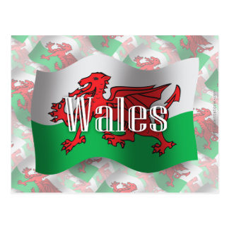 Bandera que agita de País de Gales Tarjeta Postal