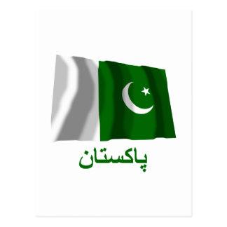 Bandera que agita de Paquistán con nombre en Urdu Postal