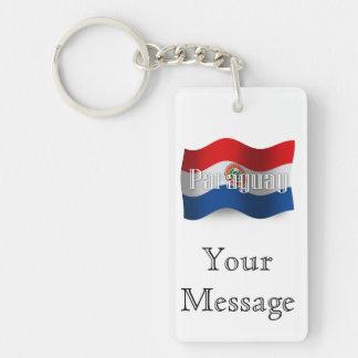 Bandera que agita de Paraguay Llavero Rectangular Acrílico A Doble Cara