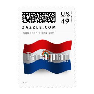 Bandera que agita de Paraguay Franqueo
