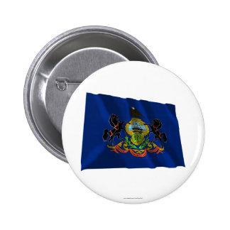 Bandera que agita de Pennsylvania Pin Redondo 5 Cm