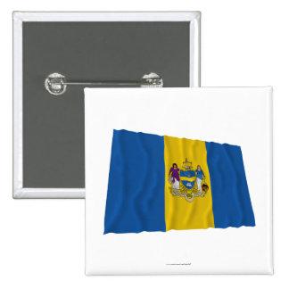 Bandera que agita de Philadelphia Pin Cuadrada 5 Cm