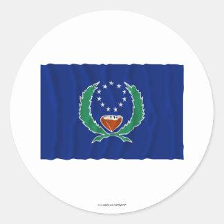 Bandera que agita de Pohnpei Pegatina Redonda