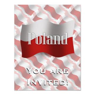 """Bandera que agita de Polonia Invitación 4.25"""" X 5.5"""""""