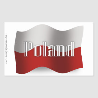 Bandera que agita de Polonia Pegatina Rectangular