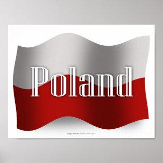 Bandera que agita de Polonia Póster