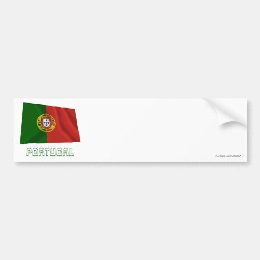 Bandera que agita de Portugal con nombre Etiqueta De Parachoque