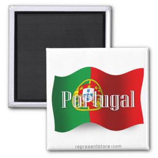 Bandera que agita de Portugal Imán Cuadrado