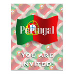 Bandera que agita de Portugal Invitación 10,8 X 13,9 Cm