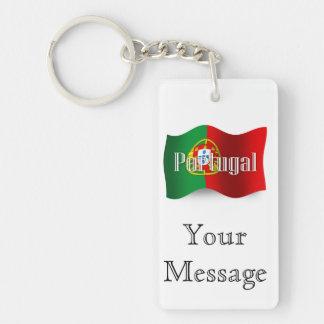 Bandera que agita de Portugal Llavero Rectangular Acrílico A Doble Cara