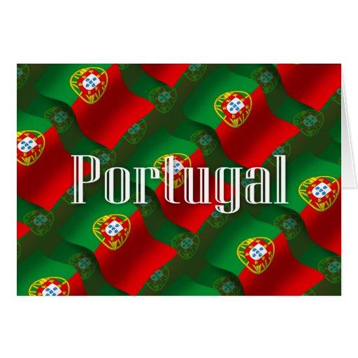Bandera que agita de Portugal Tarjeton