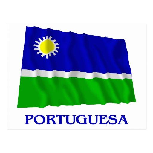 Bandera que agita de Portuguesa con nombre Postal