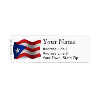 Bandera que agita de Puerto Rico Etiqueta De Remitente