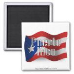 Bandera que agita de Puerto Rico Iman De Nevera
