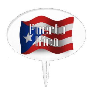 Bandera que agita de Puerto Rico Palillos De Tarta