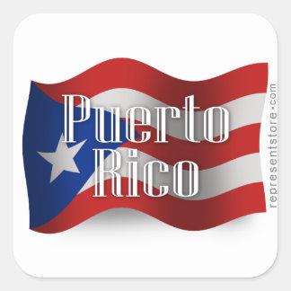 Bandera que agita de Puerto Rico Pegatina Cuadradas