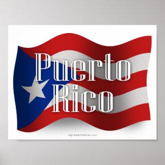 Bandera que agita de Puerto Rico Póster